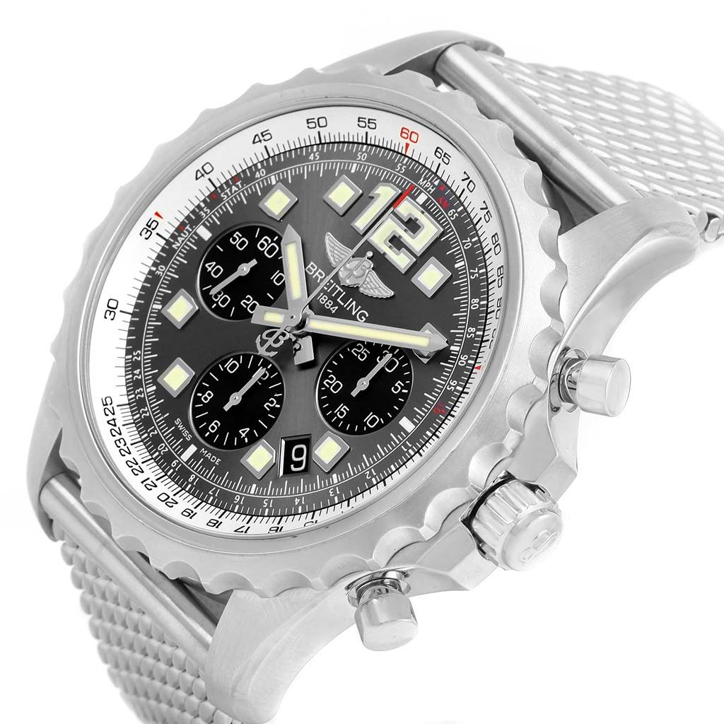 Breitling Chronospace Grey Dial Chronograph Steel Mens Watch A23360 SwissWatchExpo