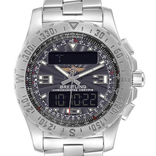 Photo of Breitling Airwolf GMT Black Dial Quartz Steel Mens Watch A78363