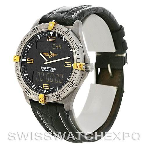 3031 Breitling Aerospace Titanium Analog Digital Quartz F56062 Watch SwissWatchExpo