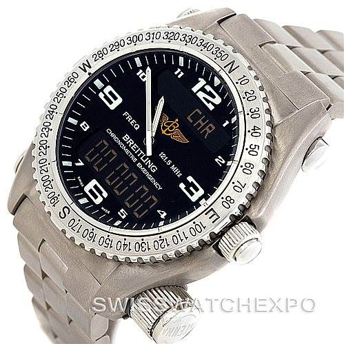 7168 Breitling Professional Emergency Watch LCD Quartz Titanium E76321 SwissWatchExpo