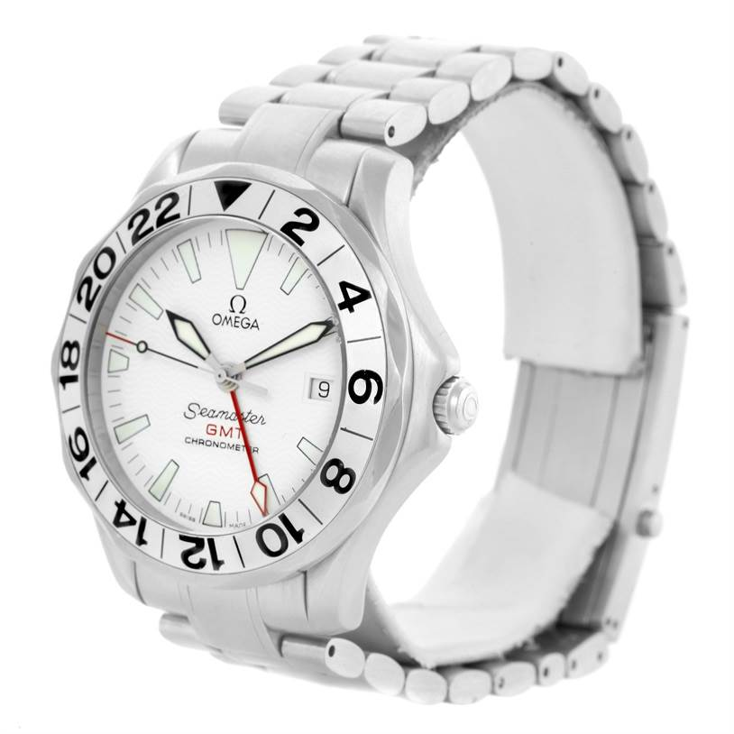 10934 Omega Seamaster GMT Great White Mens Watch 2538.20.00 Box Papers SwissWatchExpo