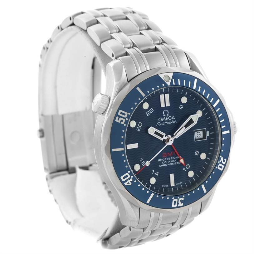 11637 Omega Seamaster Bond 300M GMT Blue Dial Watch 2535.80.00 Box Papers SwissWatchExpo