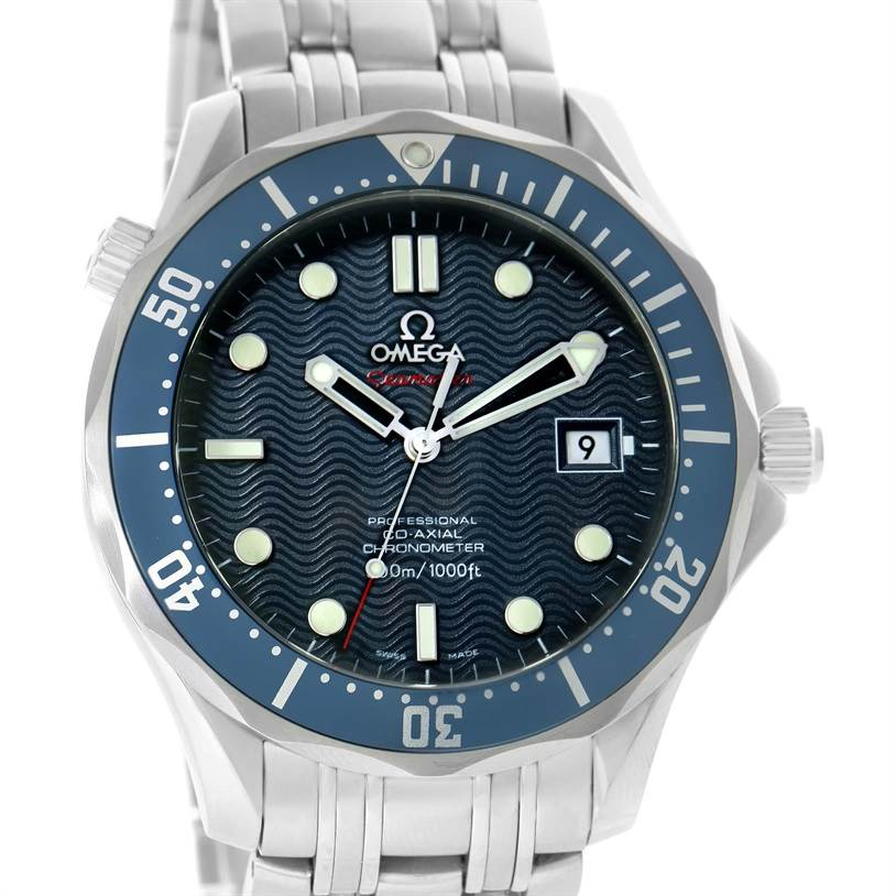 11895 Omega Seamaster Bond 300M Diver Co-Axial Blue Dial Watch 2220.80.00 SwissWatchExpo