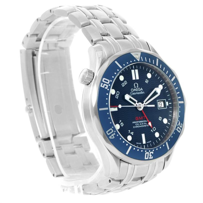 12017 Omega Seamaster Bond 300M GMT Blue Dial Watch 2535.80.00 SwissWatchExpo