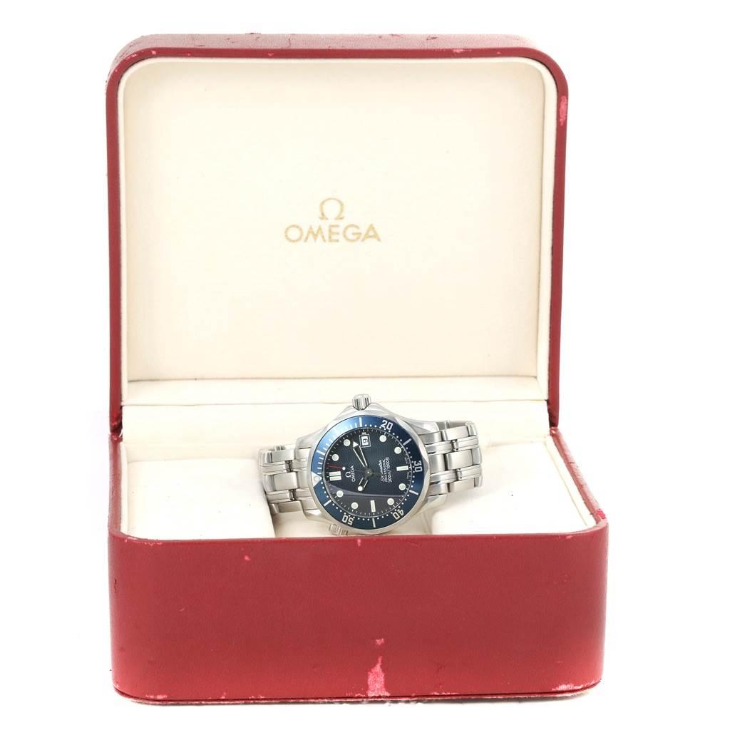 13413 Omega Seamaster Bond Blue Wave Dial Midsize Quartz Watch 2561.80.00 SwissWatchExpo