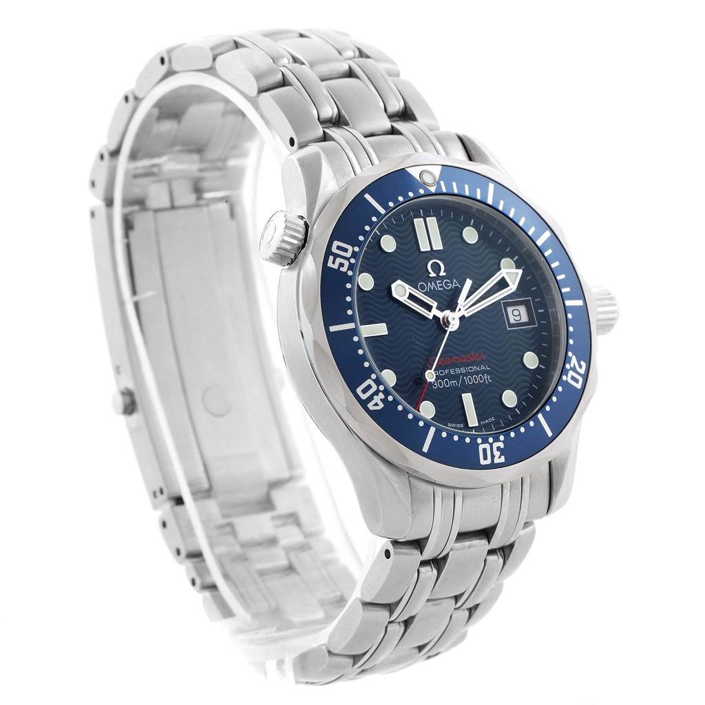 13621 Omega Seamaster 300M Blue Dial Quartz Midsize Watch 2223.80.00 SwissWatchExpo