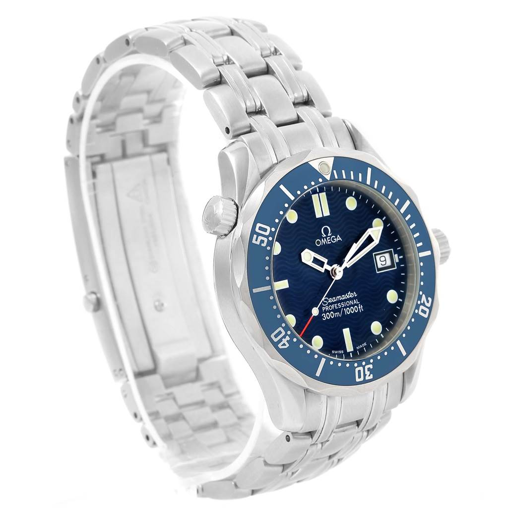 12847 Omega Seamaster James Bond Midsize Blue Wave Dial Watch 2561.80.00 SwissWatchExpo