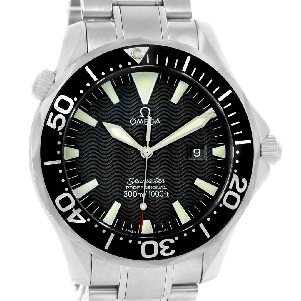 14666S Omega Seamaster Professional 300m Black Dial Steel Watch 2264.50.00 SwissWatchExpo