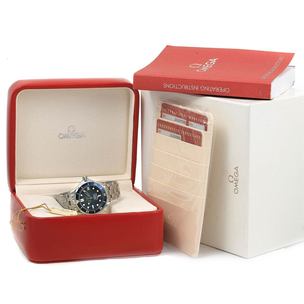 14853 Omega Seamaster Midsize Co-Axial Blue Dial Watch 2222.80.00 Box papers SwissWatchExpo