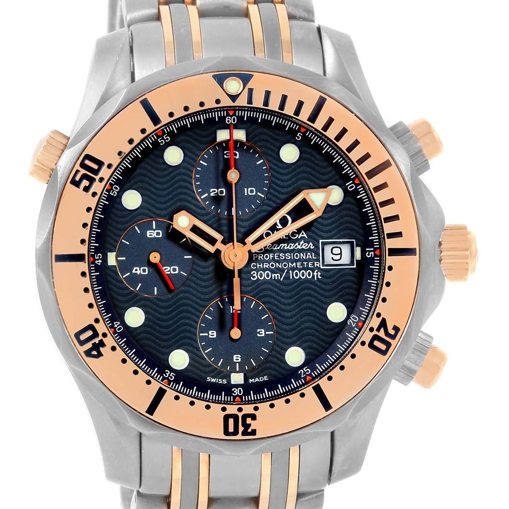 1b2851dec98 ... 15224 Omega Seamaster Titanium Rose Gold Blue Wave Dial Mens Watch  2296.80.00 SwissWatchExpo ...