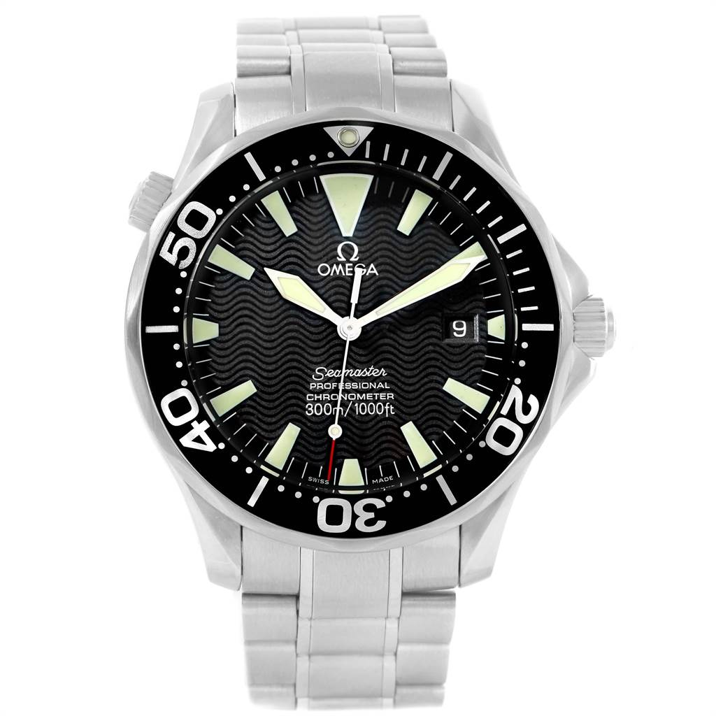 15390 Omega Seamaster 41mm Black Wave Dial Automatic Mens Watch 2254.50.00 SwissWatchExpo
