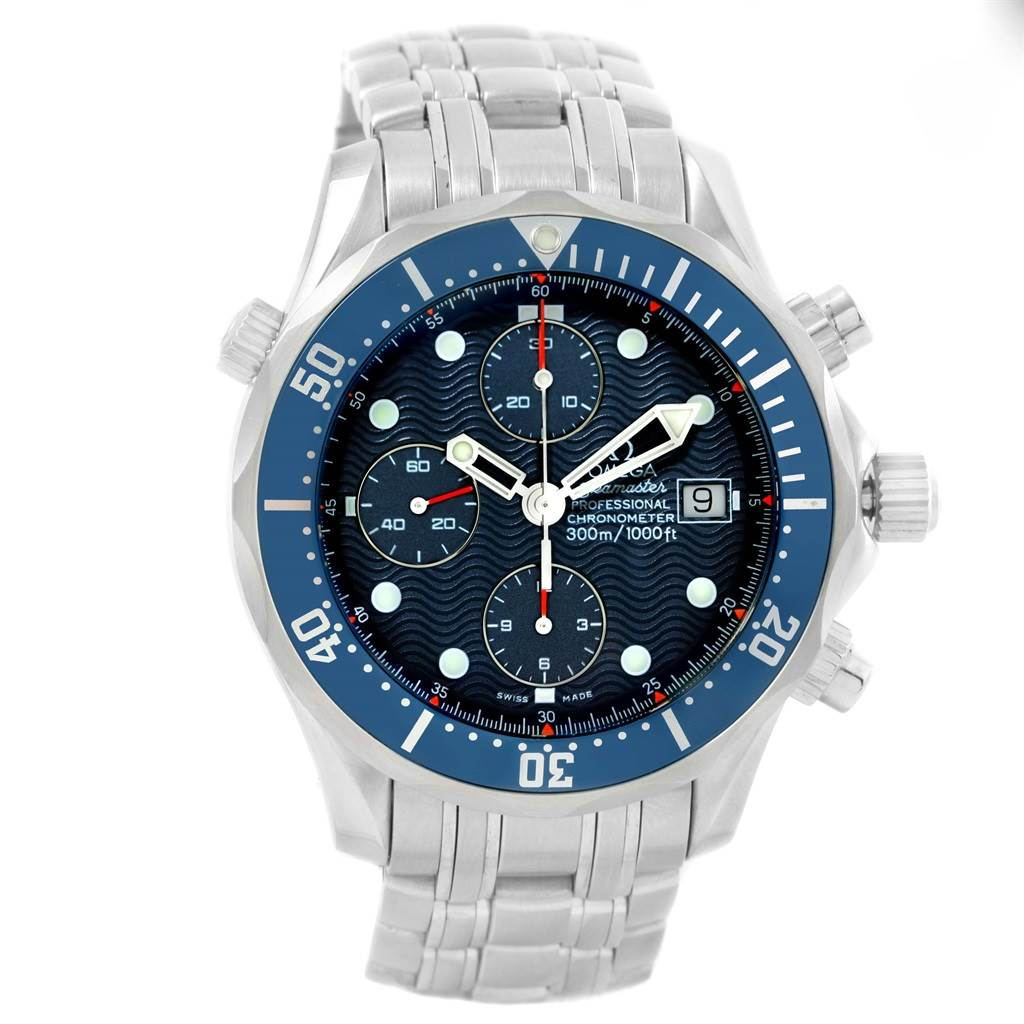 16183 Omega Seamaster Bond Chrono Blue Wave Dial Steel Mens Watch 2599.80.00 SwissWatchExpo