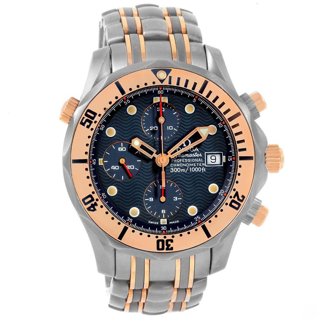 Omega Seamaster 41mm Titanium 18k Rose Gold Mens Watch 2296 80 00