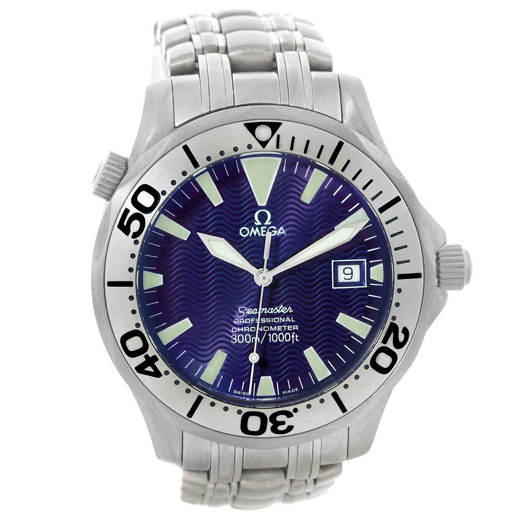 19288 Omega Seamaster Titanium Blue Dial Mens Watch 2231.80.00 SwissWatchExpo