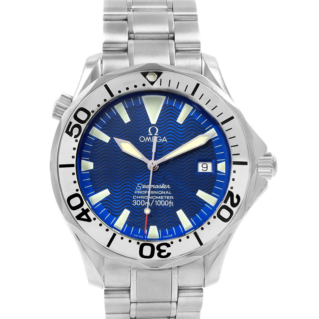 16004 Omega Seamaster 300M Electric Blue Dial Steel Mens Watch 2255.80.00 SwissWatchExpo