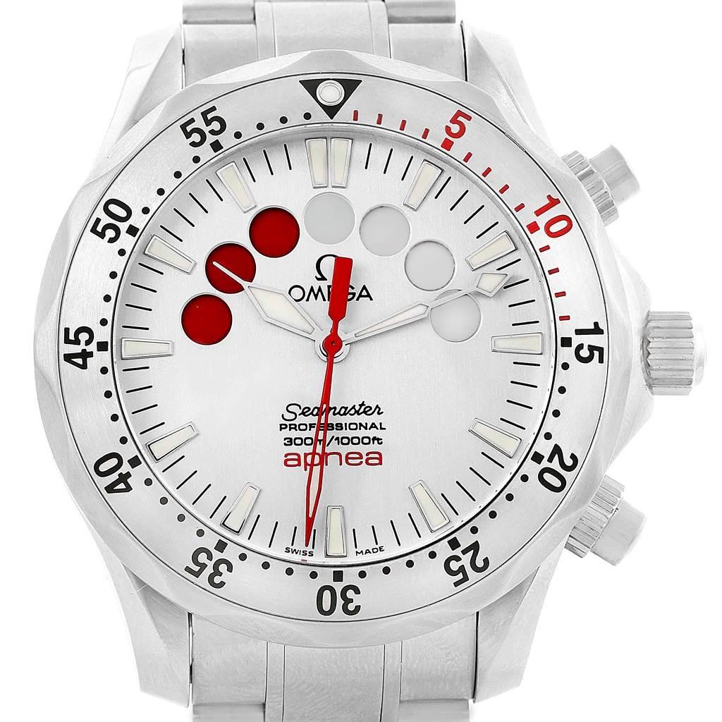 20539 Omega Seamaster Apnea Jacques Mayol Silver Dial Watch 2595.30.00 SwissWatchExpo