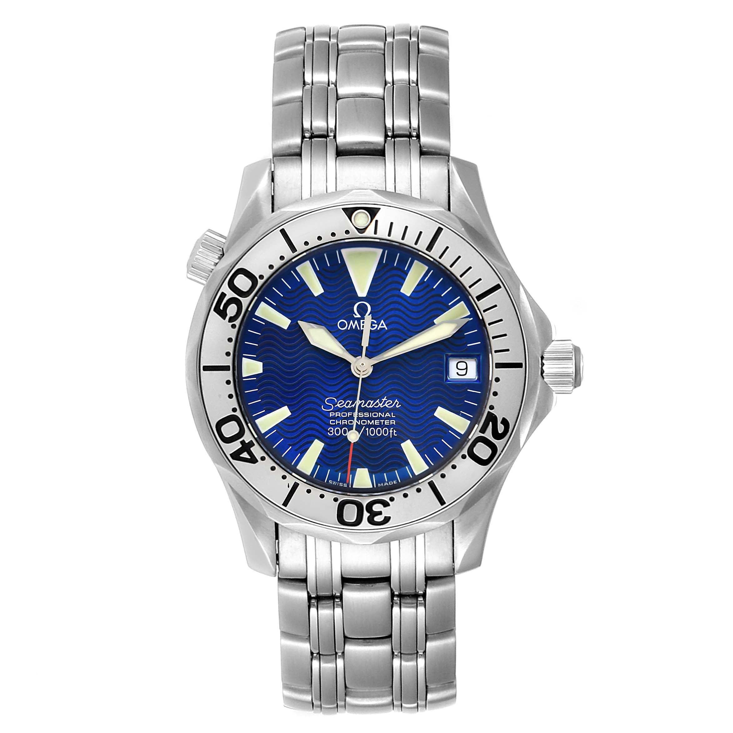 Omega Seamaster Midsize Steel Electric Blue Dial Watch 2554.80.00 SwissWatchExpo