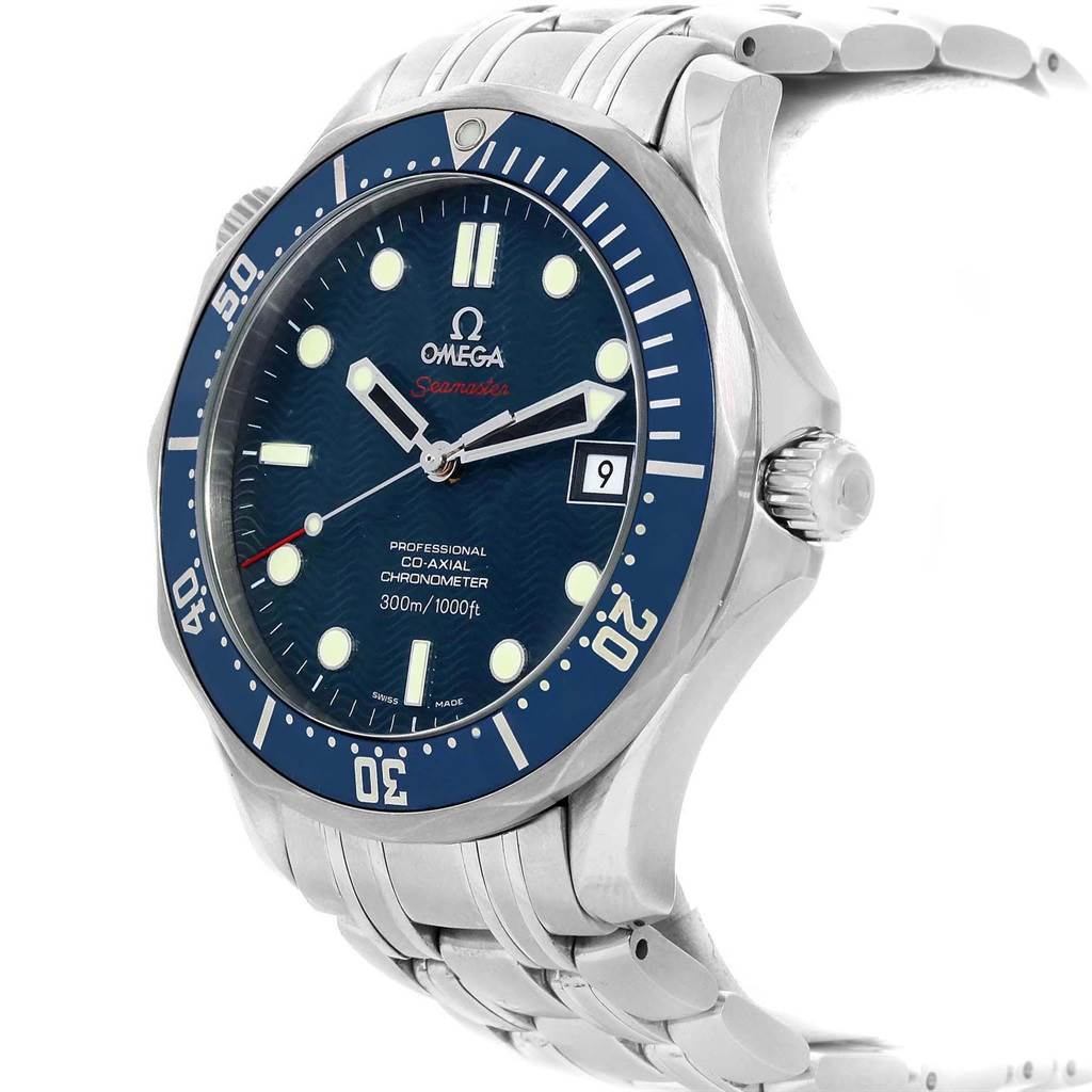 21003 Omega Seamaster Bond 300M Co-Axial 41mm Blue Dial Watch 2220.80.00 SwissWatchExpo