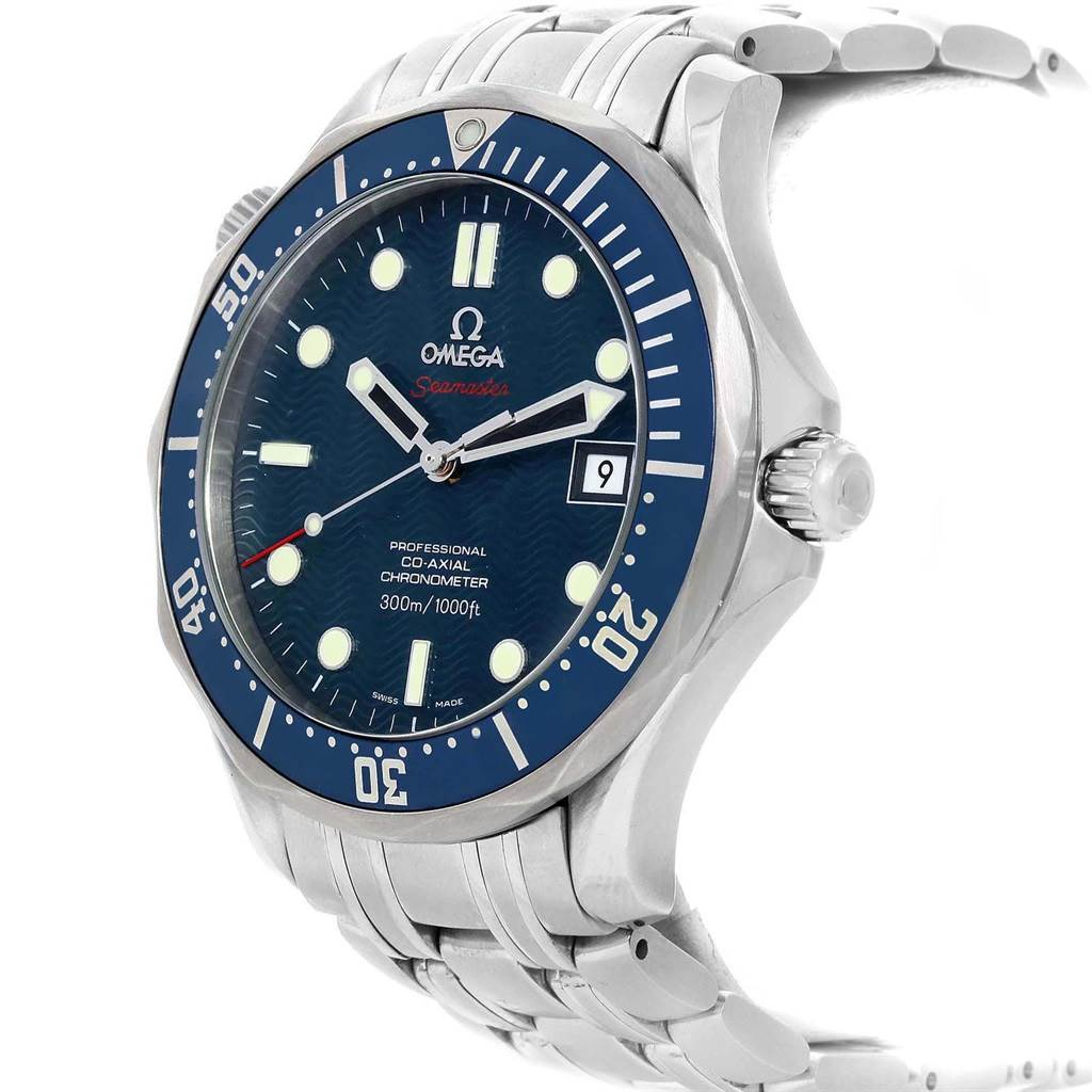 21309 Omega Seamaster Bond 300M Co-Axial 41mm Blue Dial Watch 2220.80.00 SwissWatchExpo