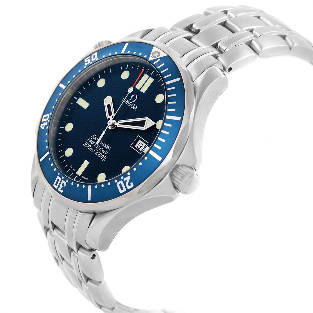 21374 Omega Seamaster 41 James Bond Blue Dial Steel Watch 2541.80.00 SwissWatchExpo