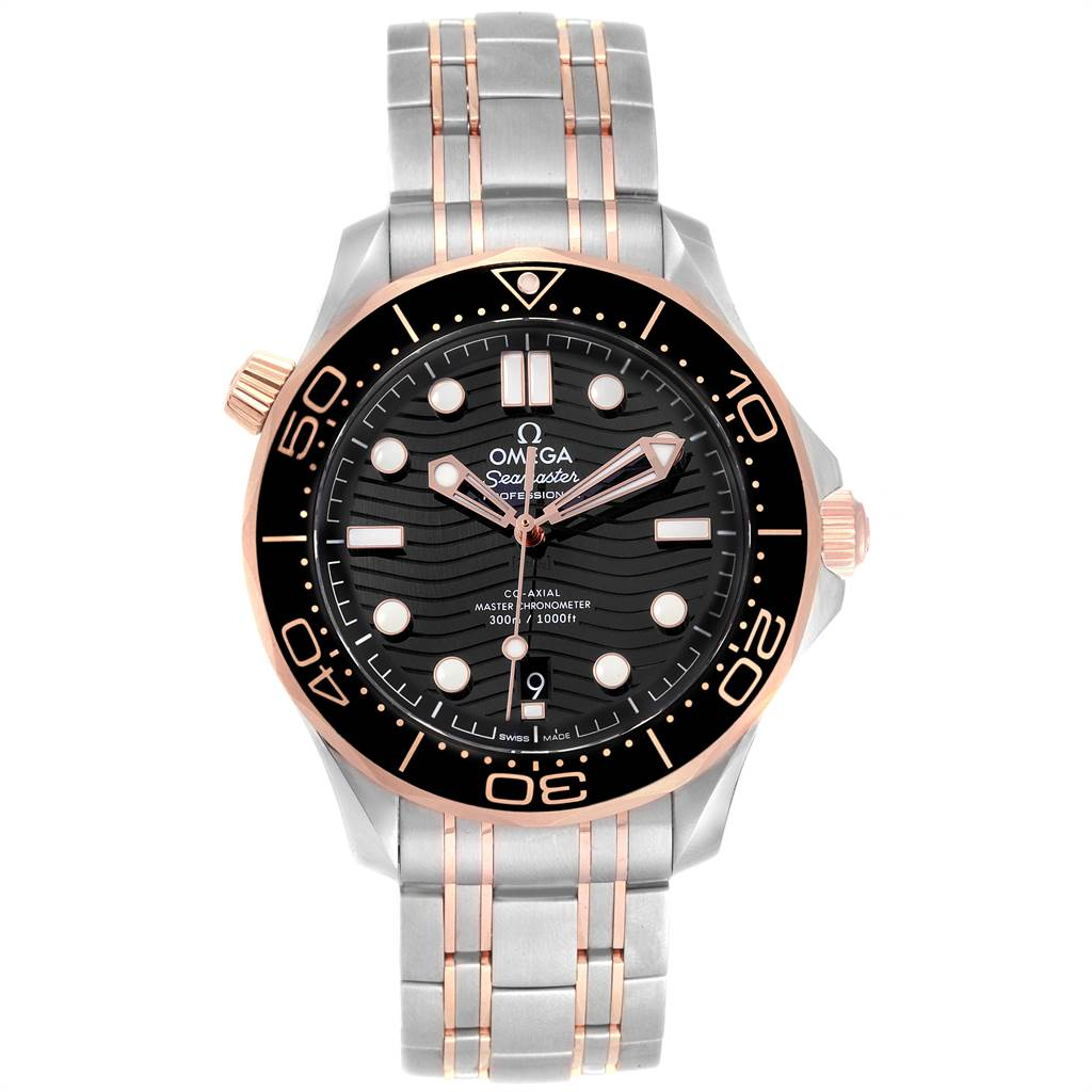 Omega Seamaster Steel Rose Gold Mens Watch 210.20.42.20.01.001 Box Card SwissWatchExpo