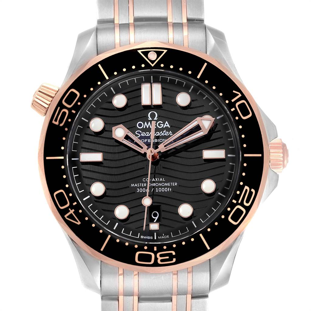 21991 Omega Seamaster Steel Rose Gold Mens Watch 210.20.42.20.01.001 Box Card SwissWatchExpo