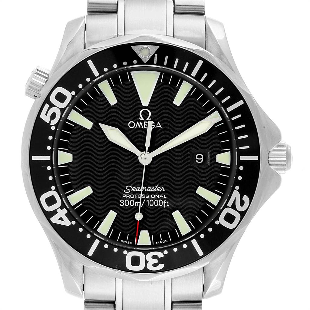 22017 Omega Seamaster 41mm Black Wave Dial Steel Mens Watch 2264.50.00 SwissWatchExpo