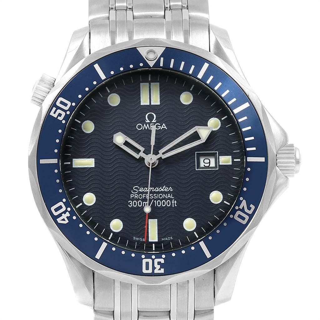 22043 Omega Seamaster 41 James Bond Blue Wave Dial Steel Watch 2541.80.00 SwissWatchExpo