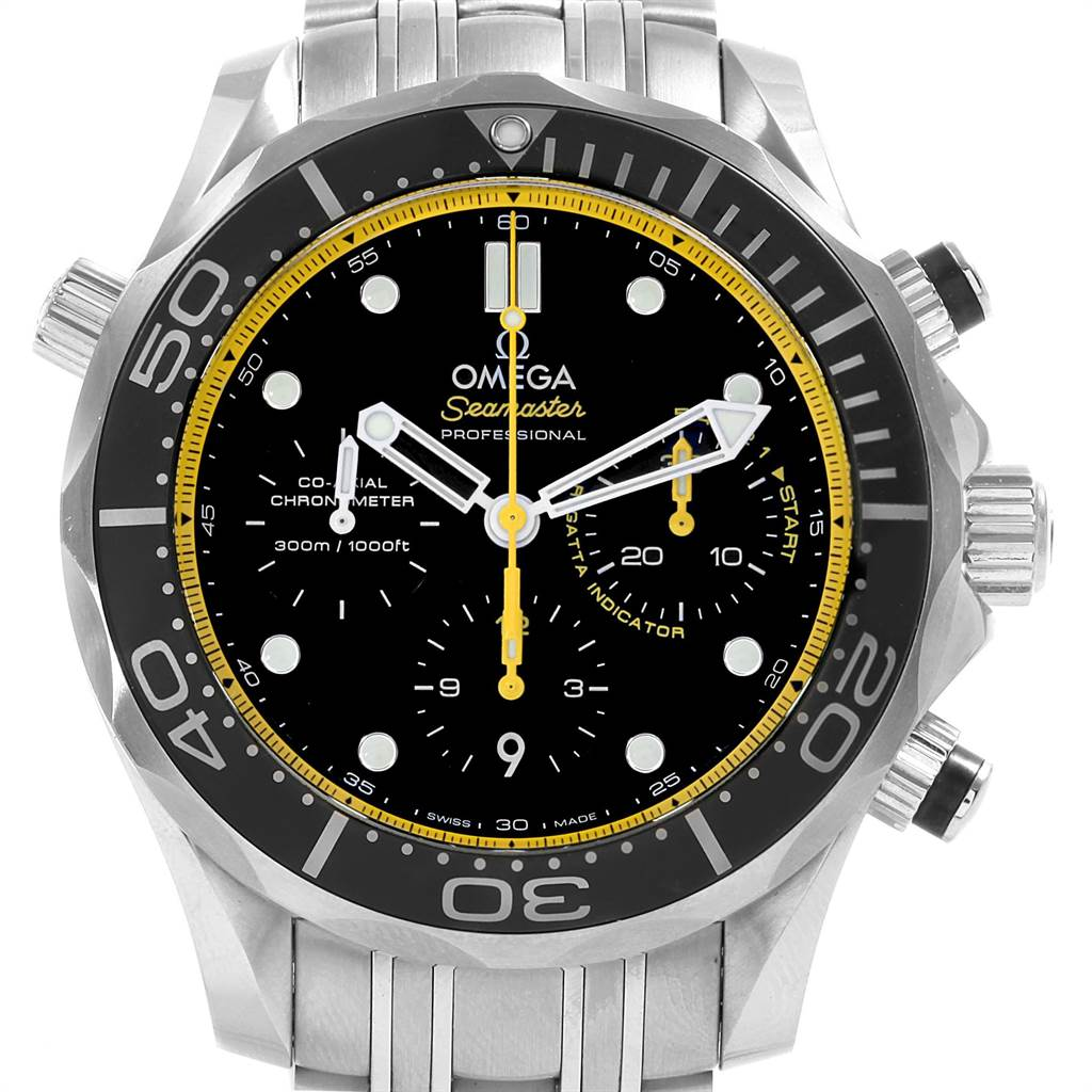 22072 Omega Seamaster Regatta Yellow Hands Watch 212.30.44.50.01.002 Box SwissWatchExpo