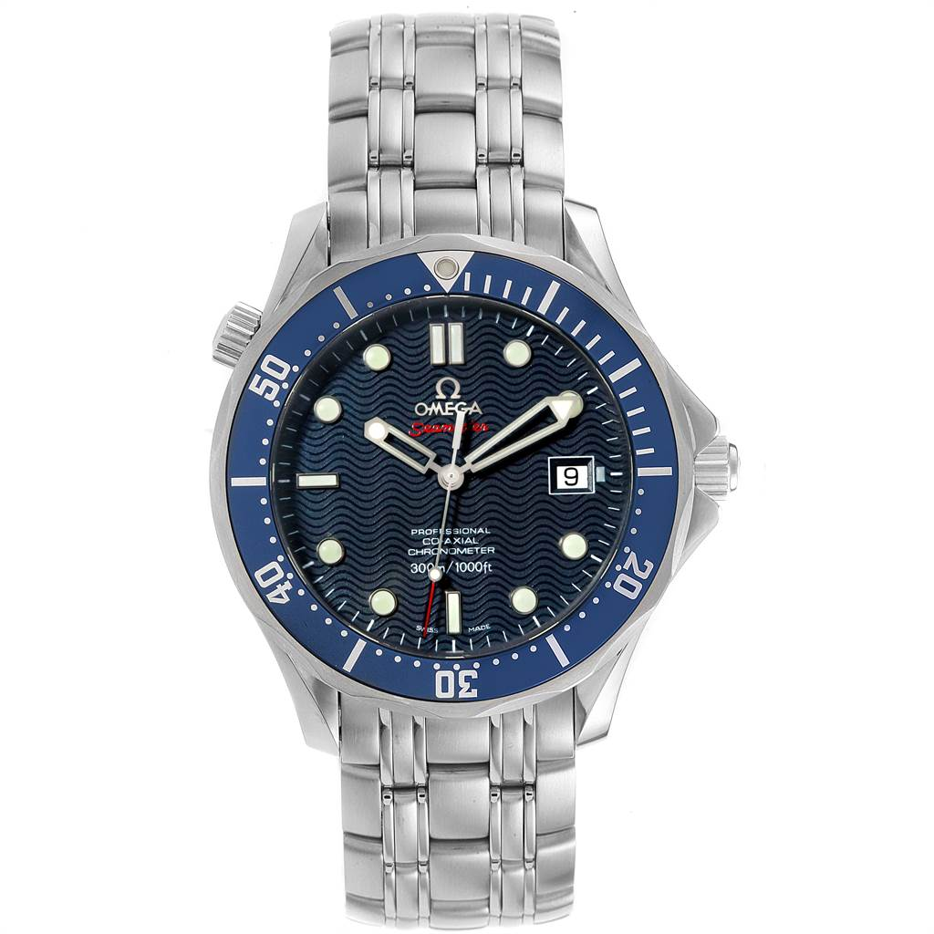 22596 Omega Seamaster Bond 300M Co-Axial 41mm Blue Dial Watch 2220.80.00 SwissWatchExpo
