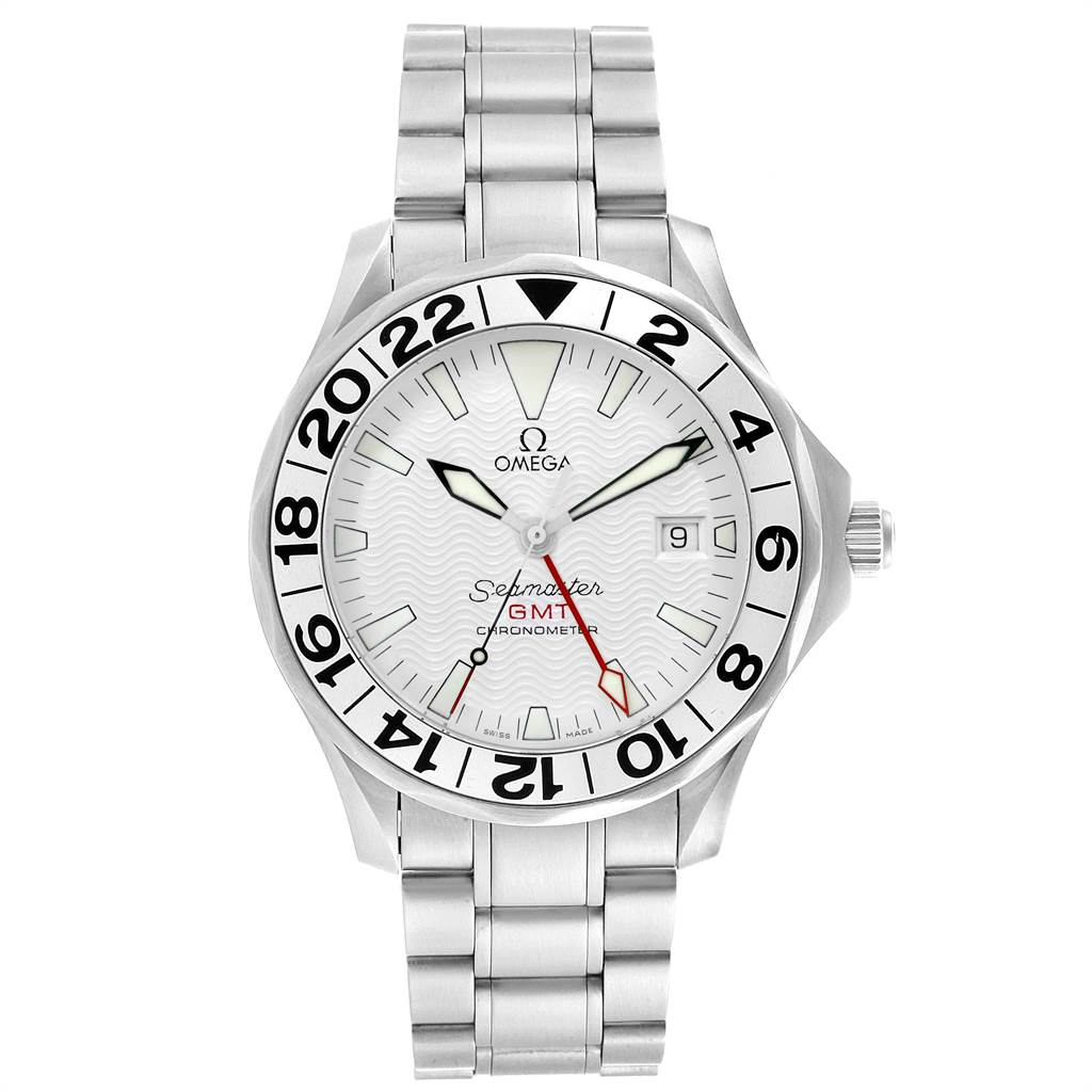 22615 Omega Seamaster 300M GMT White Wave Dial Watch 2538.20.00 Card SwissWatchExpo