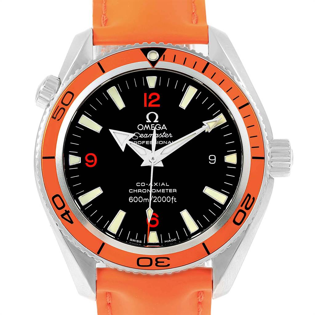 Omega Seamaster Planet Ocean Orange Strap Steel Mens Watch 2909.50.83
