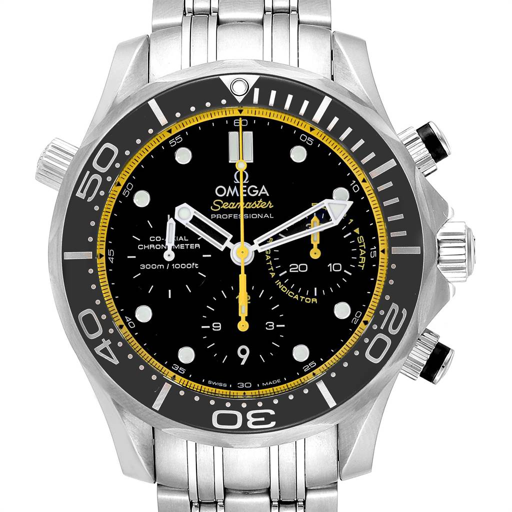 Omega Seamaster Regatta Yellow Hands Mens Watch 212.30.44.50.01.002 Card