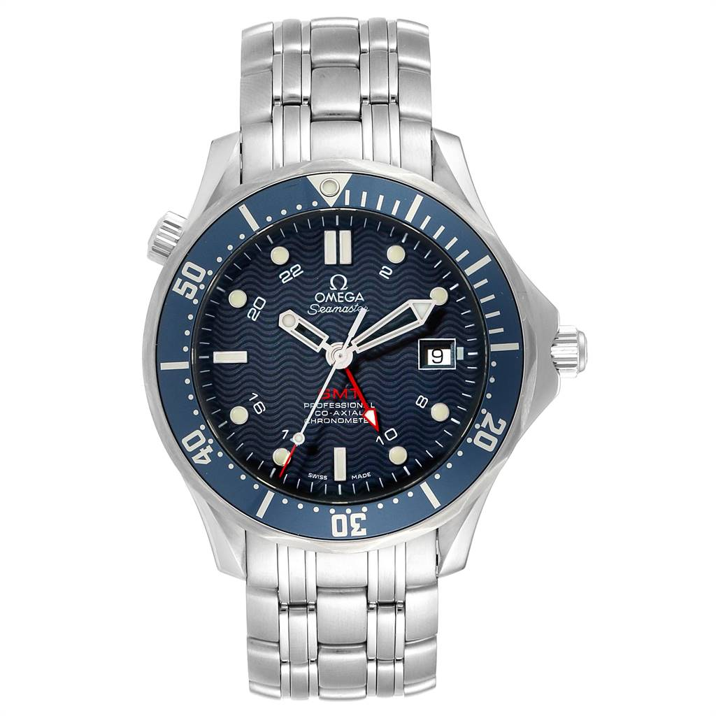 25051 Omega Seamaster Bond 300M GMT Co-Axial Mens Watch 2535.80.00 Box Card SwissWatchExpo