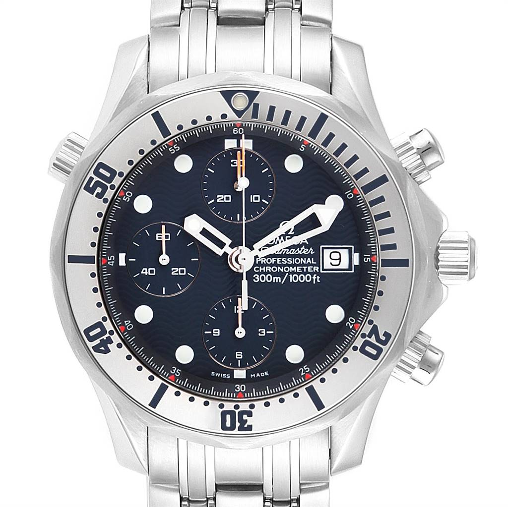 Omega Seamaster Chronograph Blue Dial Steel Mens Watch 2598.80.00 Card