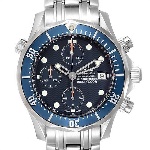 Photo of Omega Seamaster Bond Chrono Blue Wave Dial Mens Watch 2599.80.00 Card