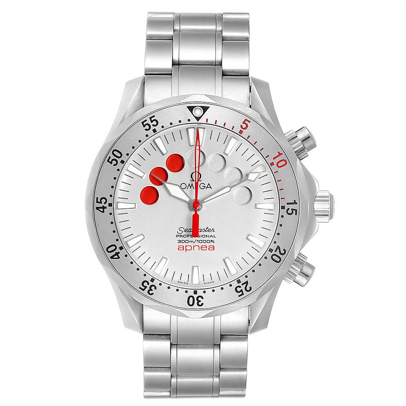 Omega Seamaster Apnea Jacques Mayol Silver Dial Mens Watch 2595.30.00 SwissWatchExpo