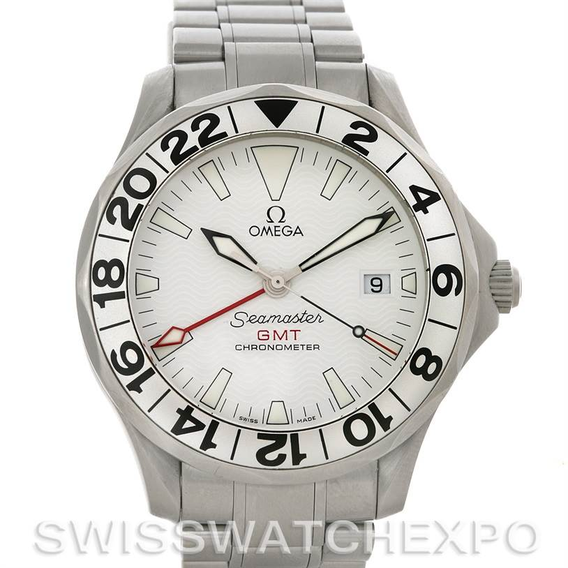 4455 Omega Seamaster GMT Men's Watch 2538.20.00 Great White SwissWatchExpo