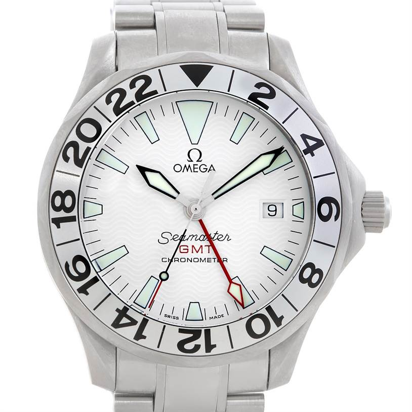 5706 Omega Seamaster GMT Great White Mens Watch 2538.20.00 SwissWatchExpo