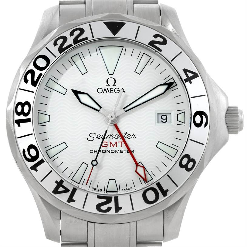 9121 Omega Seamaster GMT Great White Mens Watch 2538.20.00 SwissWatchExpo