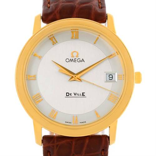 Photo of Omega DeVille Prestige 18K Yellow Gold Brown Strap Date Watch