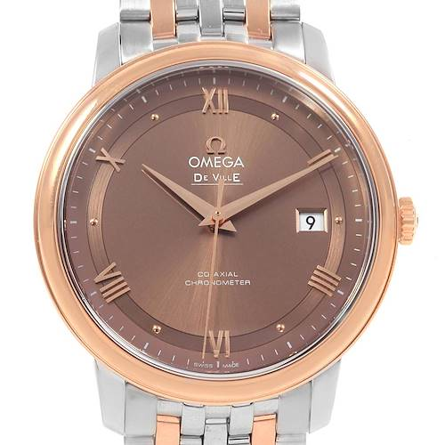 Photo of Omega DeVille Prestige Steel Rose Gold Brown Dial Watch 424.20.40.20.13.001