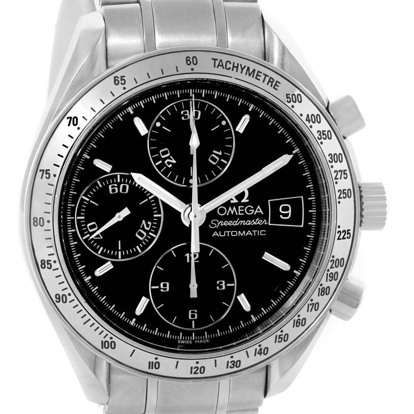 10735 Omega Speedmaster Date Black Dial Mens Automatic Watch 3513.50.00 SwissWatchExpo