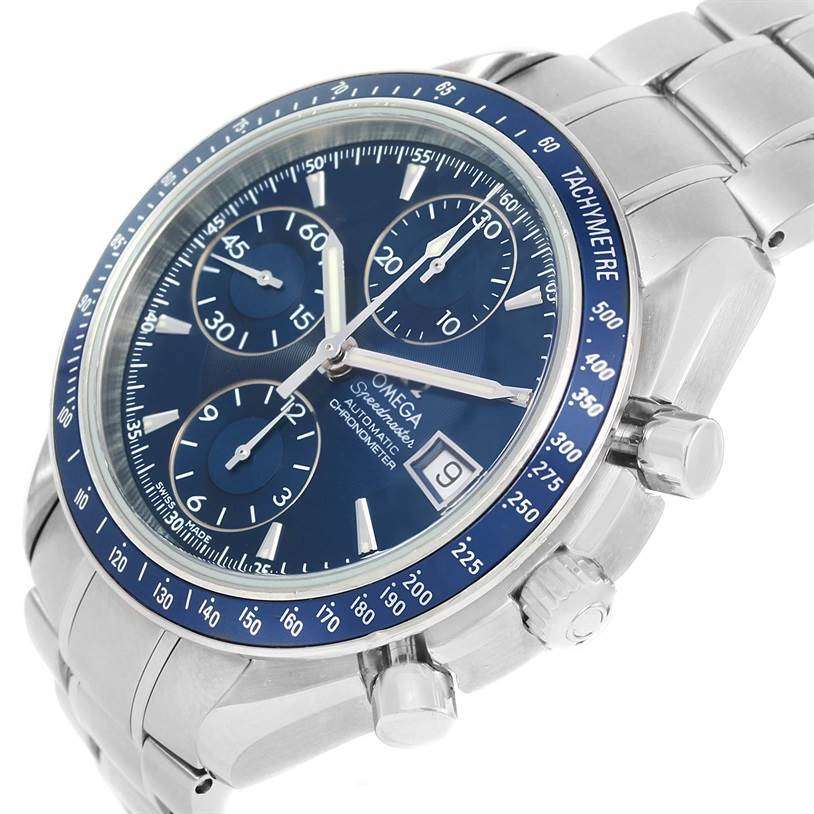 12894 Omega Speedmaster Date Blue Dial Steel Watch 3212.80.00 Box Papers SwissWatchExpo