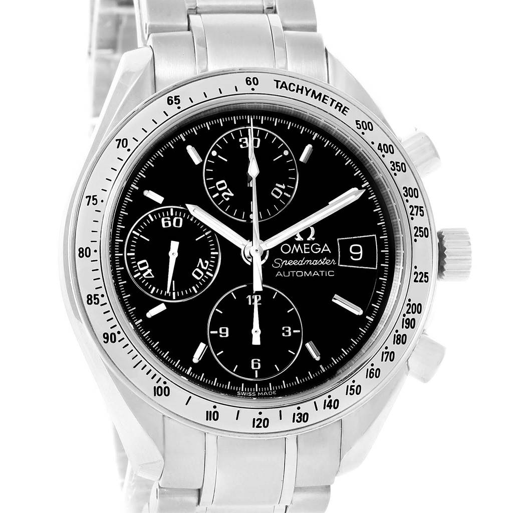 12114S Omega Speedmaster Date Automatic Black Dial Watch 3513.50.00 SwissWatchExpo