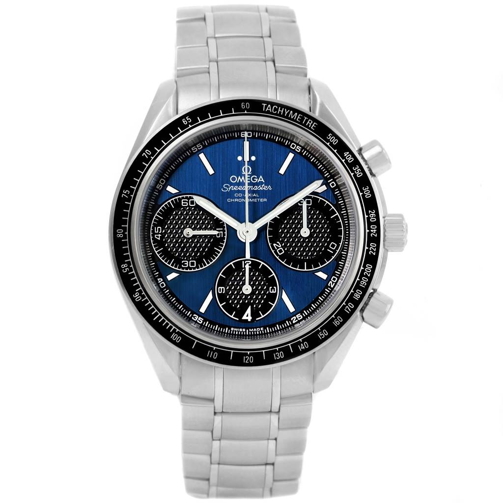 14277S Omega Speedmaster Racing Blue Dial Watch 326.30.40.50.03.001 Box Cards SwissWatchExpo
