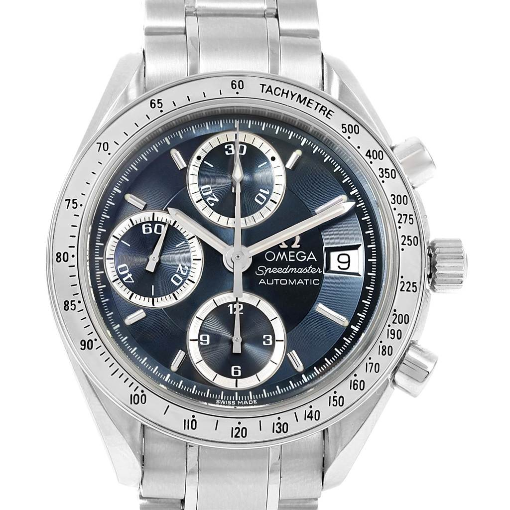 15186 Omega Speedmaster Date Blue Grey Dial Mens Watch 3513.46.00 SwissWatchExpo