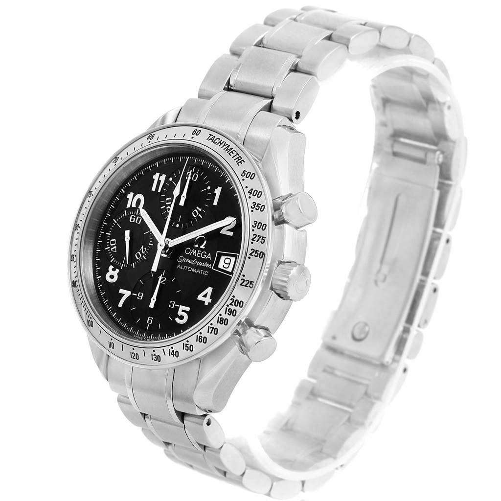 15373 Omega Speedmaster Date Black Arabic Dial Steel Mens Watch 3513.52.00 SwissWatchExpo