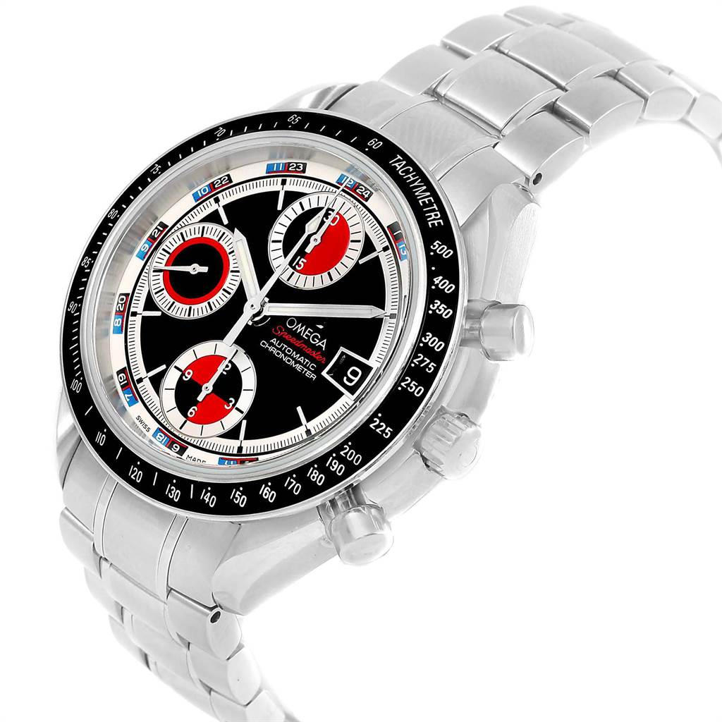 17100 Omega Speedmaster Black Red Dial Chronograph Watch 3210.52.00 Box Card SwissWatchExpo