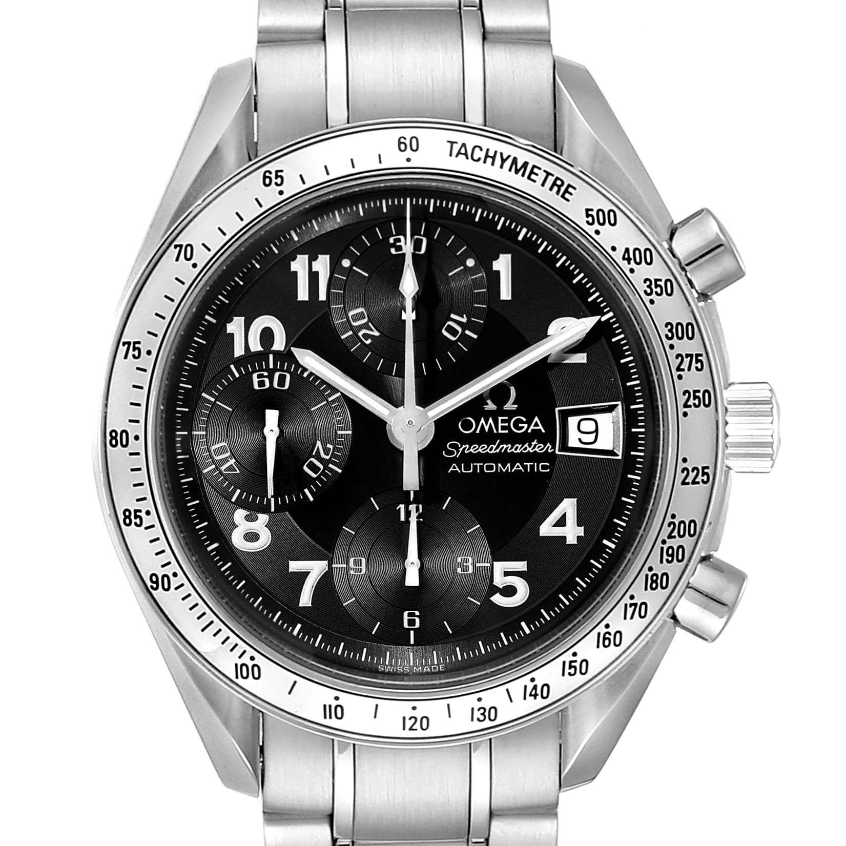 Omega Speedmaster Date Black Arabic Dial LE Steel Mens Watch 3513.52.00 SwissWatchExpo